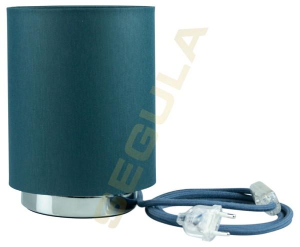 80525, Tischlampe, Lampenschirm, Chrom-petrol, E27