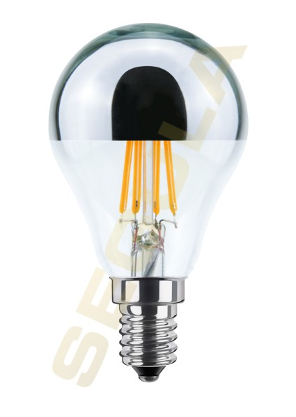 LED Tropfenlampe Spiegelkopf silber, E14, 60814