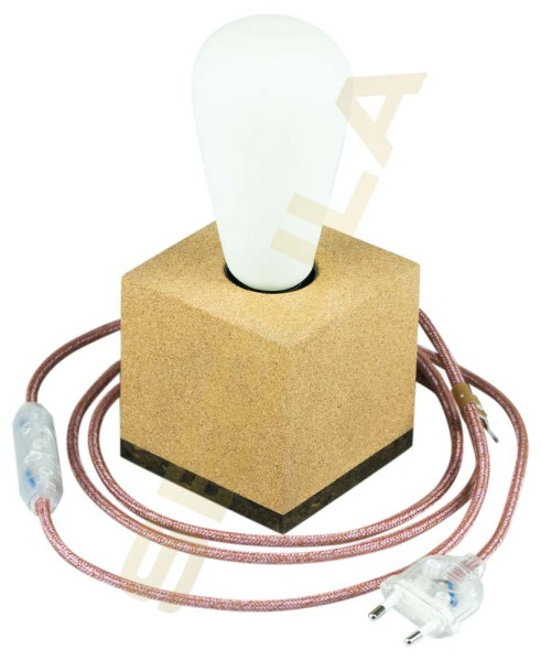 80529, Tischlampe Korkwürfel, E27, Textilkabel marsala