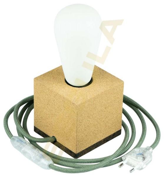 80528, Tischlampe Korkwürfel, E27, Textilkabel grün