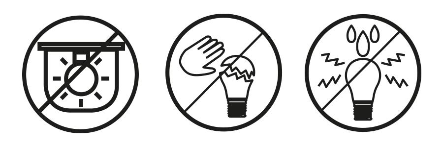 LED Leuchtmittel, LED Lampen, Symbole LED Lampen, LED Symbole, LED Verpackung Zeichen, Symbole auf Lampen Verpackung, Warnhinweise LED Leuchtmittel, Warnung LED Lampen, Verpackung LED Warnungen, Warnsymbole LED Verpackung